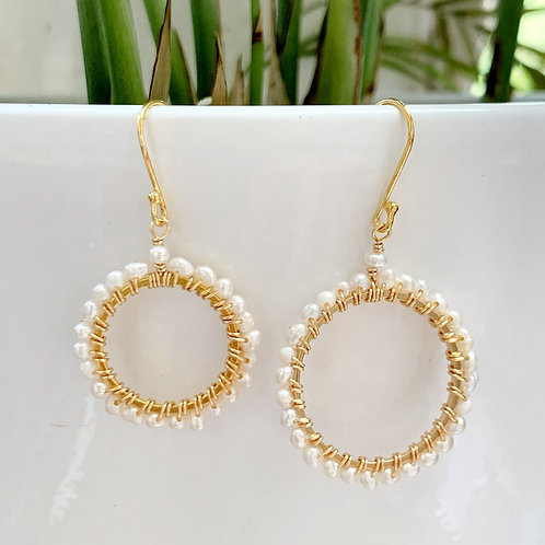 Freshwater Pearl Round Beaded Earrings