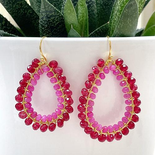 Ruby Pink Jade & Hot Pink Jade Double Beaded Teardrop Earrings