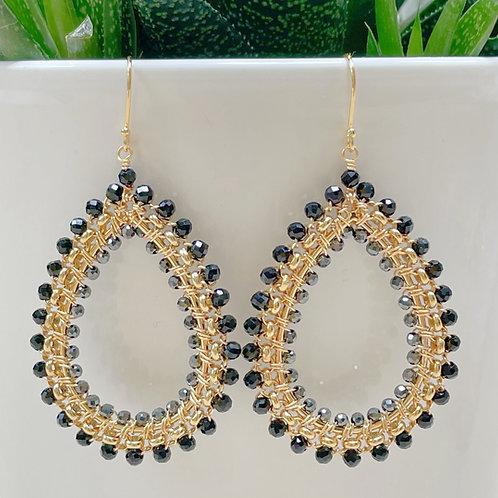 Black Onyx & Grey Hematite Rolo Teardrop Beaded Earrings