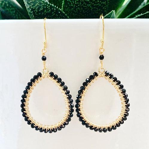 Onyx Peardrop Beaded Earrings