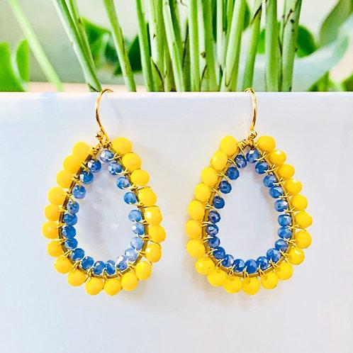 Yellow & Sparkly Cornflower Blue Double Beaded Teardrop Earrings