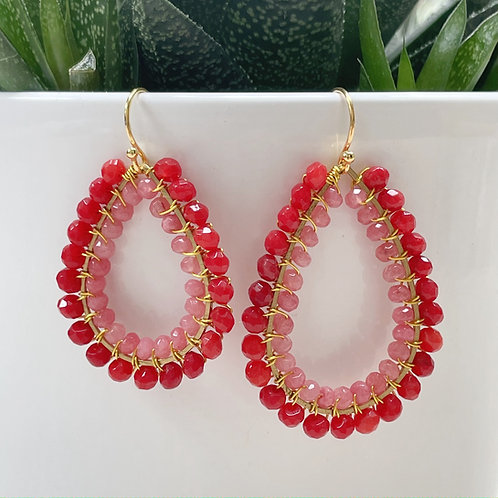 Red Agate & Candy Pink Agate Double Beaded Teardrop Earrings