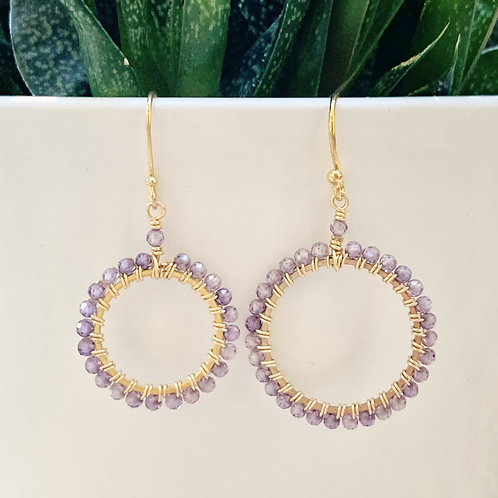 Amethyst Round Beaded Earrings