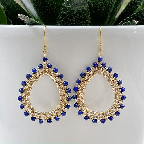 Blue Lapis Lazuli Medium Rolo Peardrop Beaded Earrings