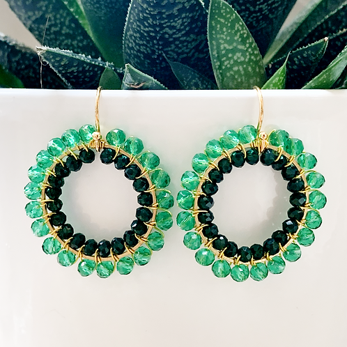 Sparkly Teal & Emerald Green Double Beaded Round Earrings