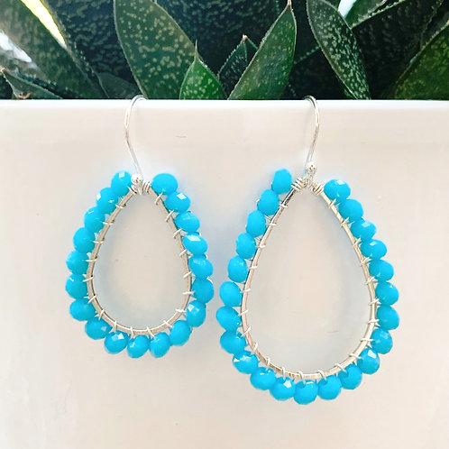Turquoise Beaded Teardrop Earrings (Silver)