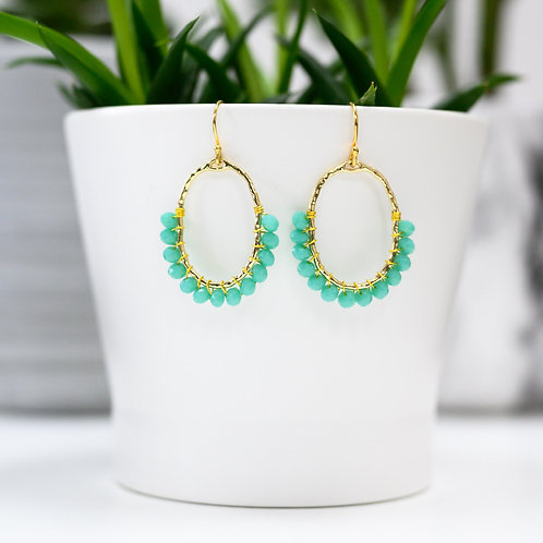 Turquoise 3/4 Oval Earrings
