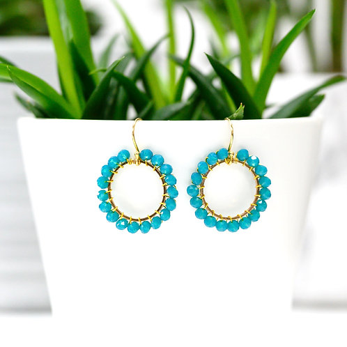 Aqua Blue Round Beaded Earrings