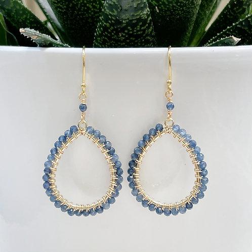 Denim Iolite Peardrop Beaded Earrings