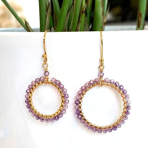 Amethyst Round Beaded Earrings