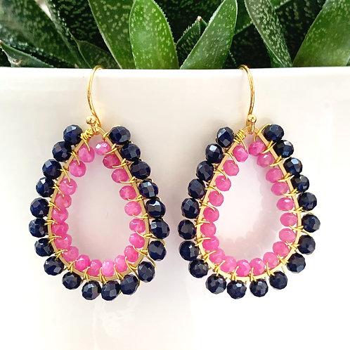 Midnight Blue & Pink Jade Double Beaded Teardrop Earrings