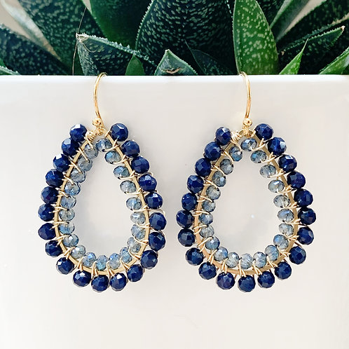 Midnight Blue & Translucent Grey Double Beaded Teardrop Earrings