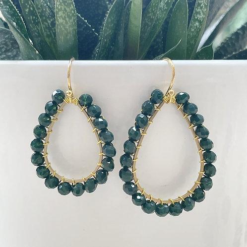 Emerald Green Teardrop Beaded Earrings