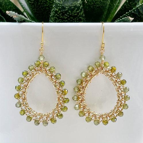 Olive Green Peridot Medium Rolo Peardrop Beaded Earrings