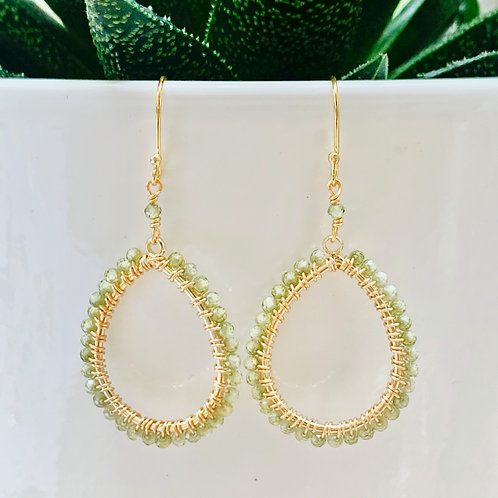 Peridot Peardrop Beaded Earrings