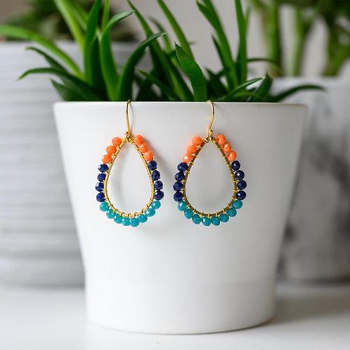 Orange, Oxford Blue & Aqua Teardrop Beaded Earrings