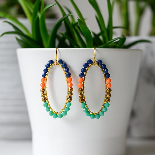 Oxford Blue, Orange, Bronze & Turquoise Oval BeadedBeaded Earrings