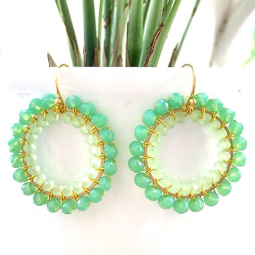 Mint Green & Pale Mint Green Double Beaded Round Earrings