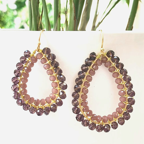 Sparkly Grape & Dusky Pink Double Beaded Teardrop Earrings