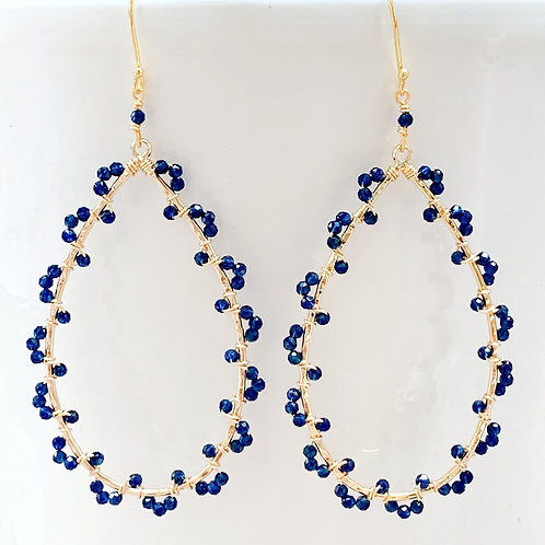 Lapis Lazuli Wrapped Teardrop Earrings