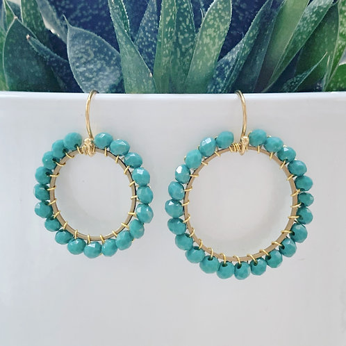 Teal Round Beaded Earrings
