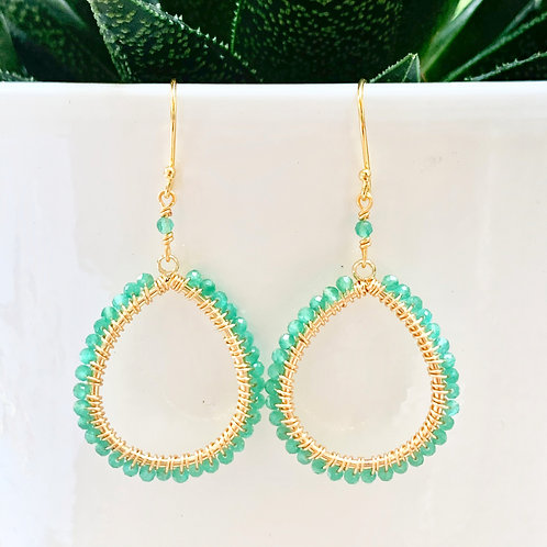 Pale Green Jade Peardrop Beaded Earrings