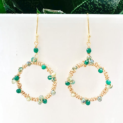 Green Ombré Wrapped Round Earrings