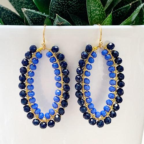 Midnight Blue & Cornflower Blue Double Beaded Oval Earrings