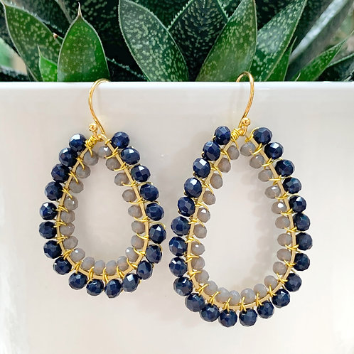 Midnight Blue & Grey Double Beaded Teardrop Earrings