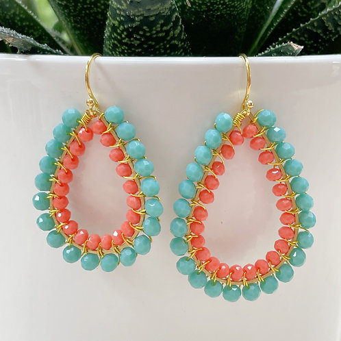 Turquoise & Coral Double Beaded Teardrop Earrings