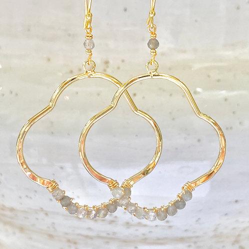 Labradorite Clover Earrings