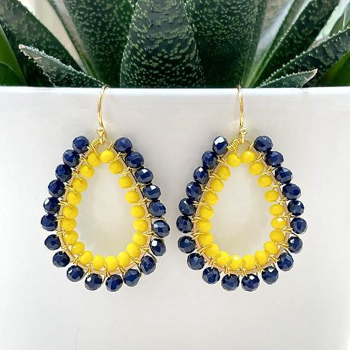 Midnight Blue & Yellow Double Beaded Teardrop Earrings