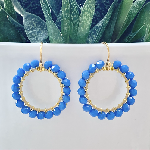 Cobalt Blue Round Beaded Earrings