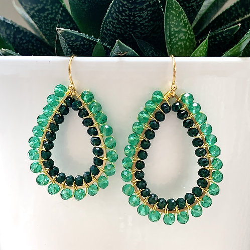 Sparkly Teal & Emerald Green Double Beaded Teardrop Earrings