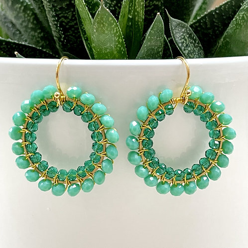 Seafoam & Sparkly Teal Double Beaded Round Earrings