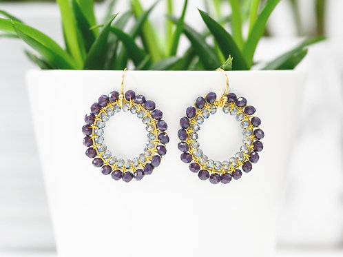 Dusky Purple & Translucent Double Beaded Round Earrings