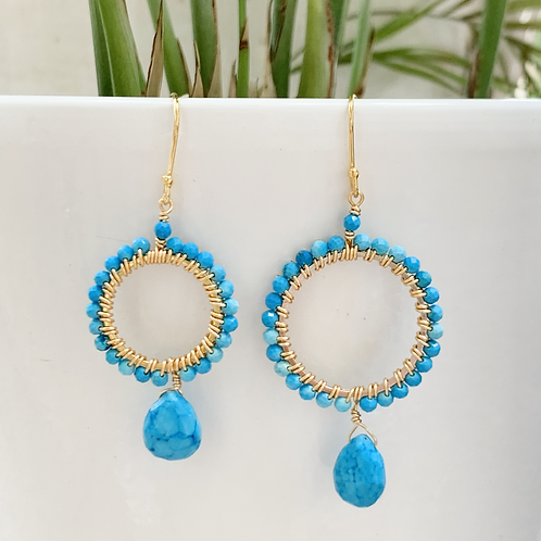 Turquoise with Turquoise Round Drop Earrings