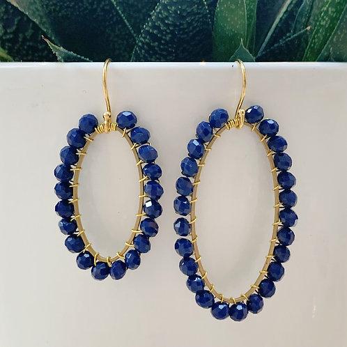 Oxford Blue Oval Beaded Earrings