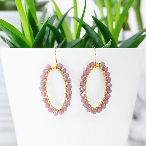 Dusky Pink Oval Earrings