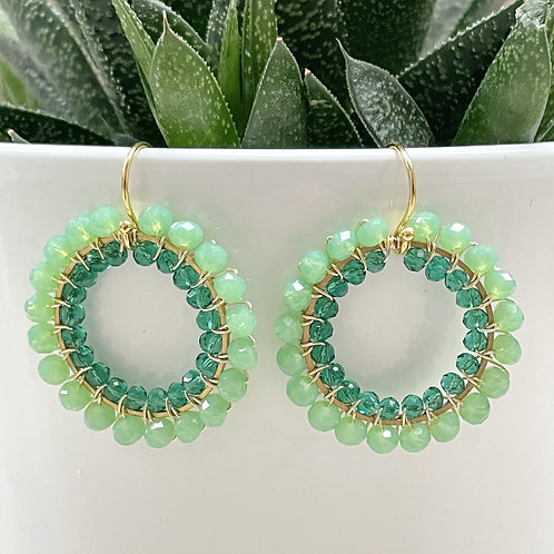 Sparkly Mint Green & Sparkly Teal Double Beaded Round Earrings