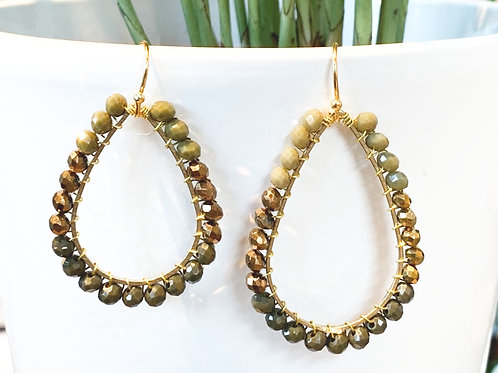 Moss Green, Bronze & Khaki Teardrop Beaded Earrings