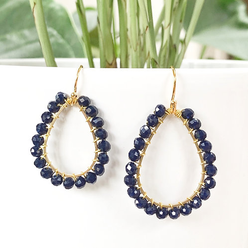 Midnight Blue Teardrop Beaded Earrings