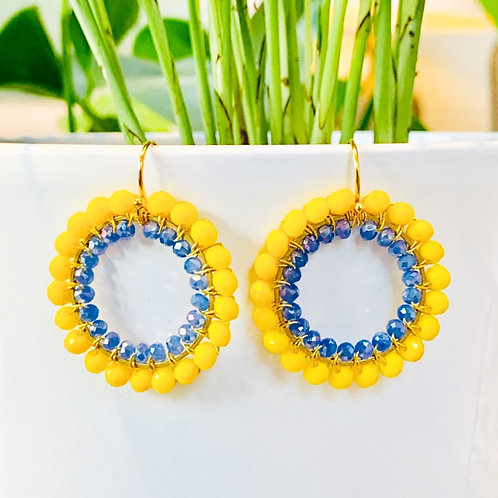Yellow & Sparkly Cornflower Blue Double Beaded Round Earrings
