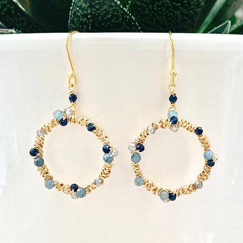 Blue Ombré Wrapped Round Earrings