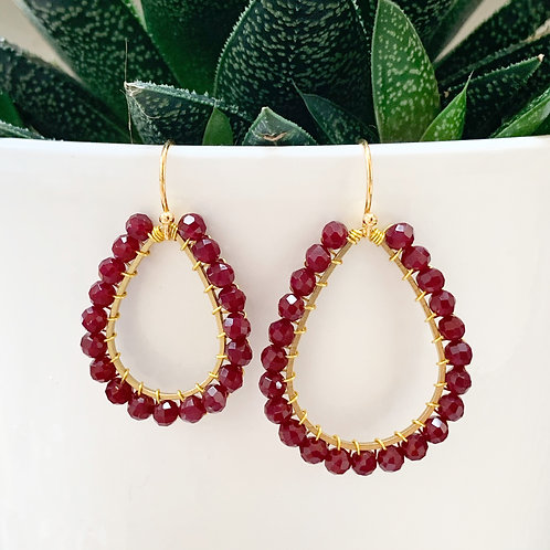 Burgundy Teardrop Beaded Earrings