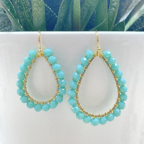Turquoise Teardrop Beaded Earrings