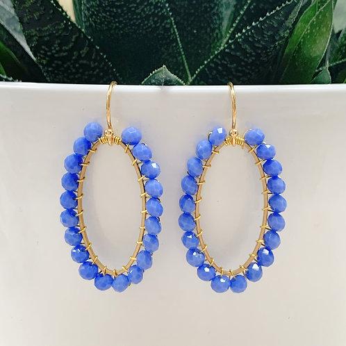 Cornflower Blue Oval Earrings