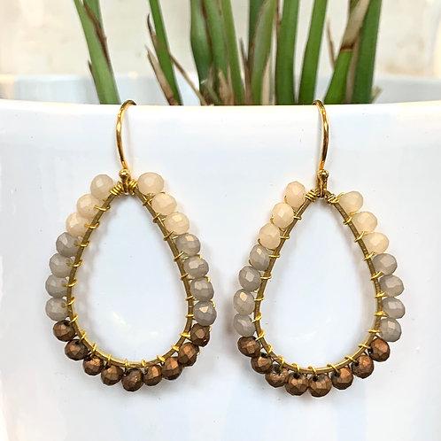 Cream, Grey & Bronze Teardrop Beaded Earrings