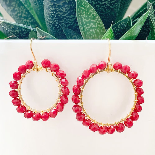 Ruby Red Round Beaded Earrings