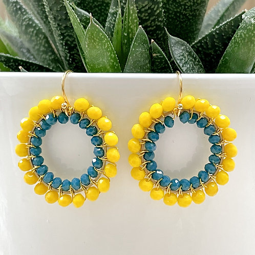 Yellow & Airforce Blue Double Beaded Round Earrings
